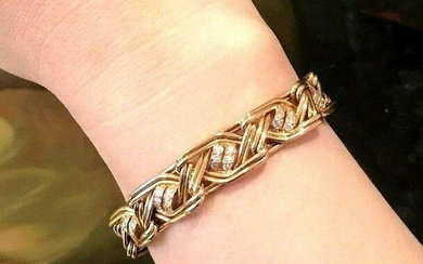 French Diamond and 18k Gold Wide Link Bracelet 1.30 ctw