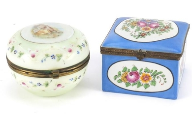 French Sèvres style porcelain casket and an opaline