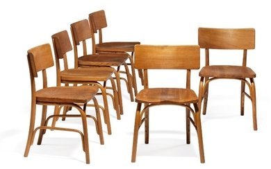 "Frits Schlegel: ""Husum"". A set of six chairs with moulded beech frame. Seat and back of solid elm. (6)"