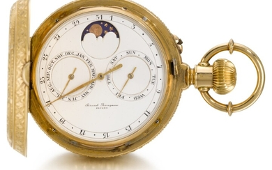 GIRARD-PERREGAUX, CHAUX-DE-FONDS [ Girard-Perregaux,拉紹德封] | A FINE AND RARE GOLD HUNTING CASED DOUBLE DIALLED KEYLESS LEVER WATCH WITH CALENDAR AND MOON PHASES CIRCA 1890, NO. 78266 [ 罕有黃金雙錶盤懷錶備日曆及月相顯示,年份約1890,編號78266]