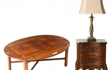 GROUPING: A FRENCH STYLE STAND, BUTLER'S TABLE AND LAMP