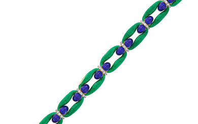 Gold, Blue and Green Enamel and Diamond Link Bracelet