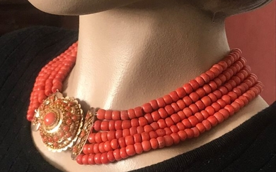 Gold, Coral - Necklace