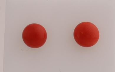 Gold ear studs, 585/000, with red coral. Yellow gold