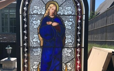 Gothic style Church stained glass window depicting Mary, 220 cm. high - Glass (stained glass) - 19th century
