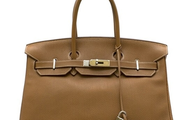 HERMÈS | GOLD BIRKIN 35 IN TOGO LEATHER WITH WHITE CONTRAST STITCHING AND PALLADIUM HARDWARE, 2009