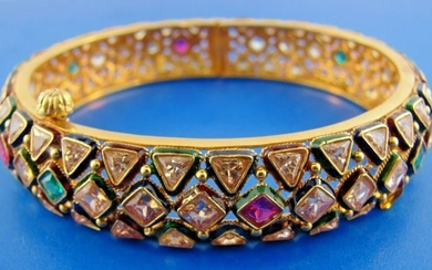 INDIAN 18k Yellow Gold, White & Yellow Sapphire, Ruby