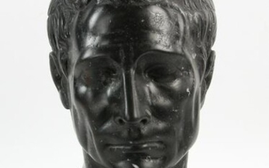 Italian Carved Black Marquina Marble Bust of Caesar