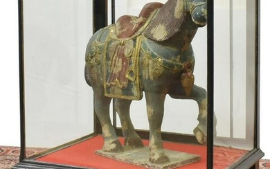 LARGE CHINESE TANG STYLE PAINTED WOOD HORSE