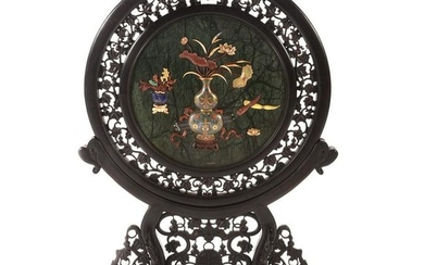 Large Chinese Carved Inlaid Circular Screen on Stand