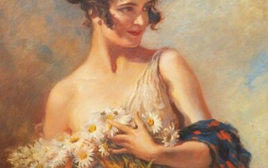 Leopold Schmutzler Young woman with daisies