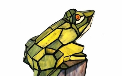 Little Frog Stained Art Glass Accent Lamp