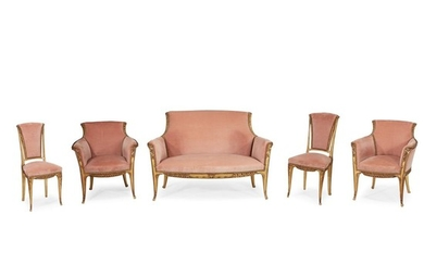 Louis Majorelle (French, 1859-1926) A Five-Piece Salon Suite, France,...