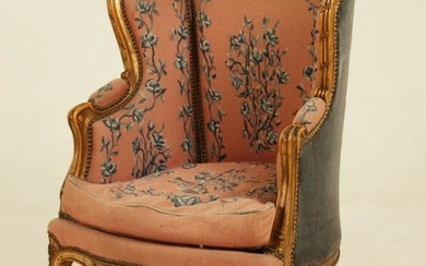 Louis xv style carved needlepoint bergere