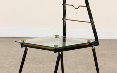 MID CENTURY MODERN ITALIAN IRON GLASS END TABLE