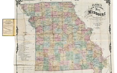 [MISSOURI] — J.C. CLARK & CO. | Clark's New Sectional Map of Missouri compiled & engraved from the United States land surveys and other reliable sources. St. Louis: J.C. Clark & Co., 1860