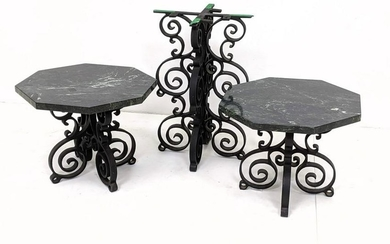 Marble and Iron Tables. 2 low heavy iron tables with gr