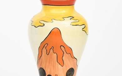 Mountain' a Clarice Cliff Bizarre Meiping vase, painted...