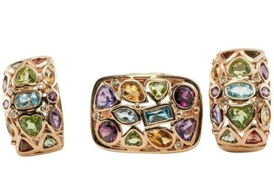 Multigem Earrings Ring Set 14K Rose Gold Peridot