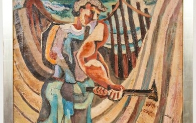 "Nathaniel Dirk ""Laborer"" Oil on Canvas"