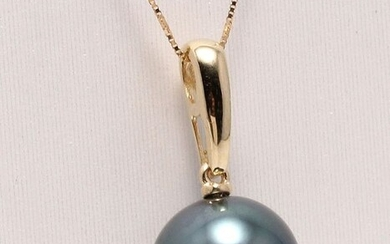No reserve price - 14 kt. Yellow Gold -11x12mm Round Tahitian Pearl - Necklace with pendant