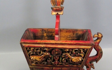 Old Chinese Ceremonial Dish Made of Hand Carved Wood
