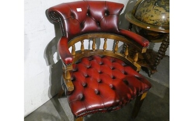 Oxblood leather button back office chair