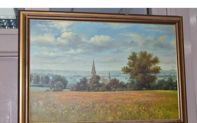 PAINTINGS AND PRINTS ETC, to include a British landscape wit...