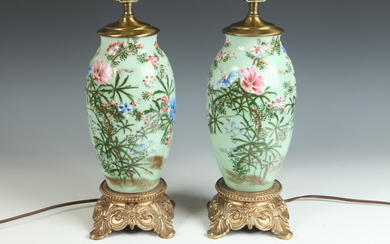 PAIR CHINESE POLYCHROME-PAINTED CELADON GLAZED PORCELAIN OVOID VASES MOUNTED AND...
