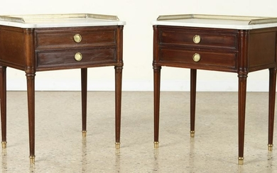 PAIR MAHOGANY END TABLES LABELED COMTE C.1940