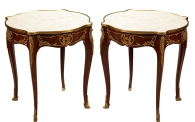 PAIR OF LOUIS XV STYLE GILT BRONZE & MARBLE TABLES