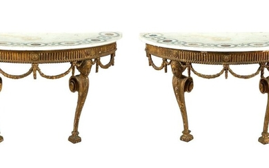 *Pair George III carved giltwood and scagliola marble demilune consoles
