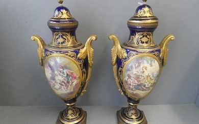 Pair Serves lidded vases decorated and romantic scenes 54cmH...
