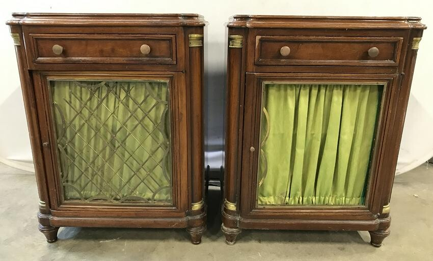 Pair Vintage Carved Wooden Curtained Side Tables
