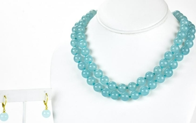 Pair of Aqua Topaz Hand Knotted Necklace Strands