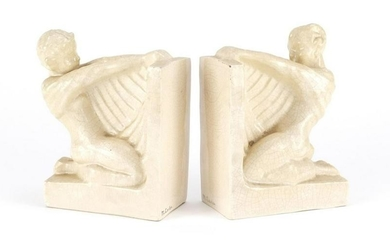 Pair of Art Deco Koza edition crackle glazed bookends