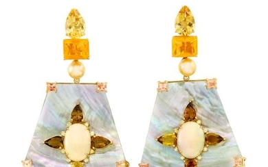 Pair of Gold, Mother-of-Pearl, Colored Stone, Golden Cultured Pearl and Diamond Pendant-Earclips