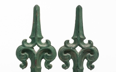 Pair of Green-painted Fencepost Finials