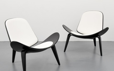 "Pair of Hans Wegner ""Shell CH07"" Lounge Chairs - Hans Wegner design; unknown"