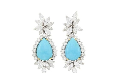 Pair of White Gold, Turquoise and Diamond Pendant-Earrings