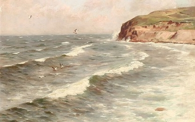 Peder Mønsted: A view from the coast of Bornholm. Signed and dated Peder Mønsted Hammeren 1917. Oil on canvas. 63×47 cm.