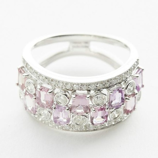 Pink Sapphire and Diamond Ring w/ 18K White Gold