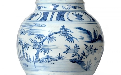 A Chinese Porcelain Ovoid Jar, Wanli period, painted in underglaze...