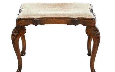 Queen Anne style carved walnut stool