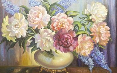 R. MOSELEY (TX) PAINTING STILL LIFE W/ FLOWERS