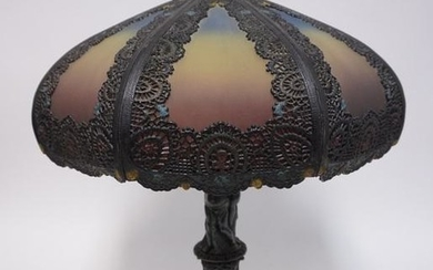 ANTIQUE REVERSE PAINTED TABLE LAMP W/ ORNATE METAL OVER