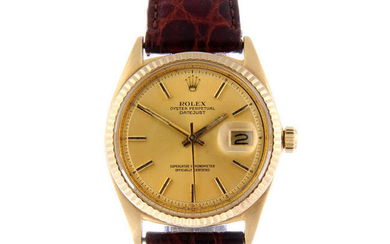 ROLEX - a gentleman's 18ct yellow gold Oyster Perpetual Datejust bracelet watch.