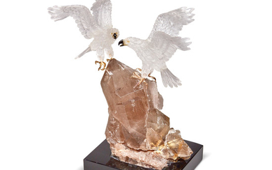 Rock Crystal Quartz Carving of Two Eagles on a Rutilated Smoky Quartz Base by Peter Muller