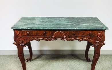 Rococo-style Carved Mahogany Marble-top Console Table, 20th century, verde antique serpentinite top, frieze with two drawers, carved sh