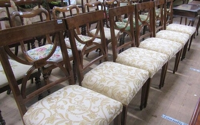 SET OF SIX MAHOGANY WILLIAM IV STYLE DINING CHAIRS WITH UPHO...